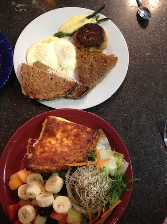 CRaVE: our very delicious 4 cheese quiche, included salad and fruit, and eggs with crab cake combo, del