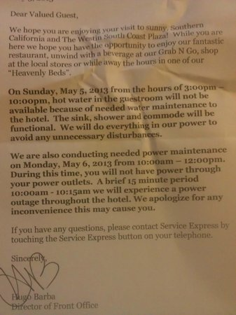The Westin South Coast Plaza: No electricity or water letter received at check in