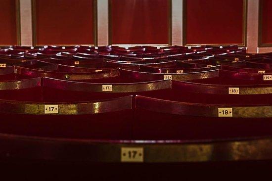 Silver Screen Cinema: Seating in Cinema 1, originally from the Drury Lane Theatre.