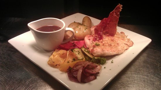 The Spark Lichfield: Parmesan-crusted chicken with prosciutto crisp from Weekend Restaurant Menu