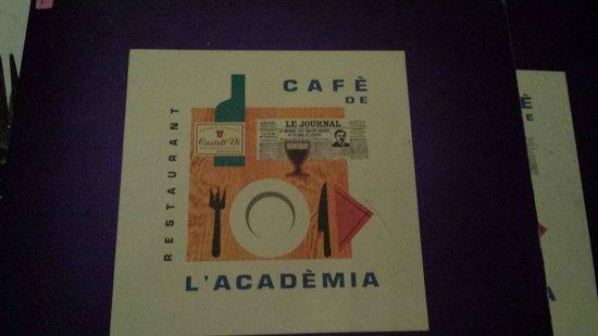 Cafe De L Academia Menu