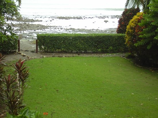 Casa Dos Rios: Beach house view at low tide. Osa jungle chicken mid hedge.