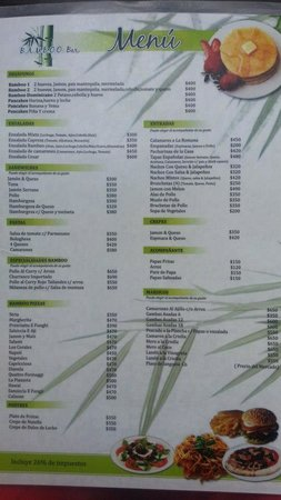 Bamboo Restaurant: Menu