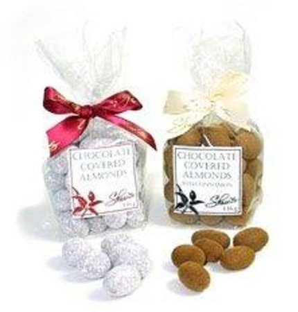 Shaw's: Chocolate Covered Almonds.  Powdered sugar or Cinnamon.