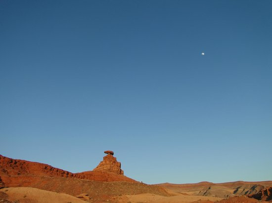 Mexican Hat, UT: Perfect combination- moon, blue sky, Hat Rock