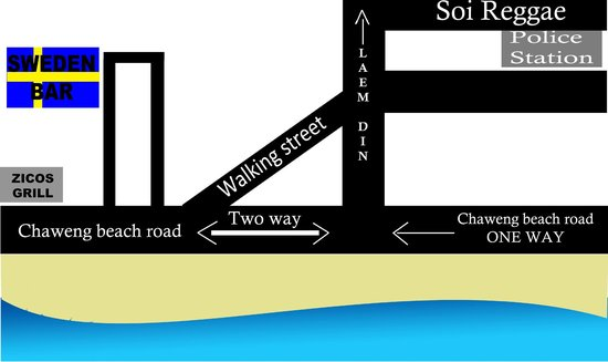 Sweden Bar & Restaurant Samui: A simple map to help you find your way to our restaurant.