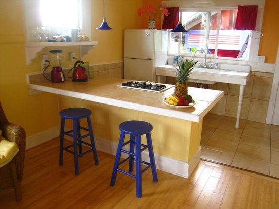 The Lotus Garden Hilo: A kitchen with all the basics to prepare meals in 'The Lotus' cottage