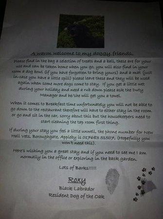 Royal Oak Appleby: letter from the resident dog
