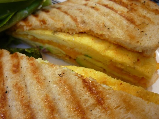 The Coffee Shop at Agritopia: Eggs, cheddar, avocado, red onion, chipotle on sour dough