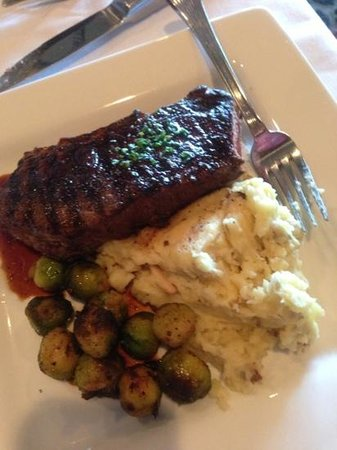 The Shore at The Inn on the Lake: flat steak with Brussels sprouts.