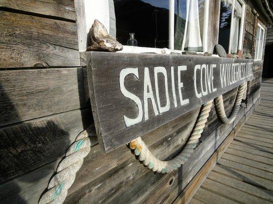 Alaska's Sadie Cove Wilderness Lodge: Sadie Cove's sign