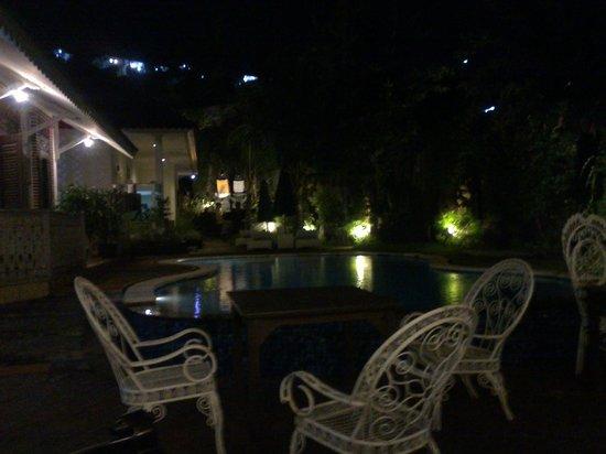 Sendok Hotel: The pool at night