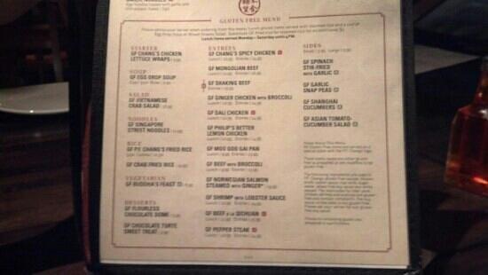 P.F. Chang's: gluten free menu