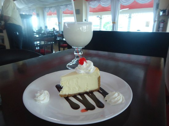 Chi: Cheesecake and a coconut smoothie