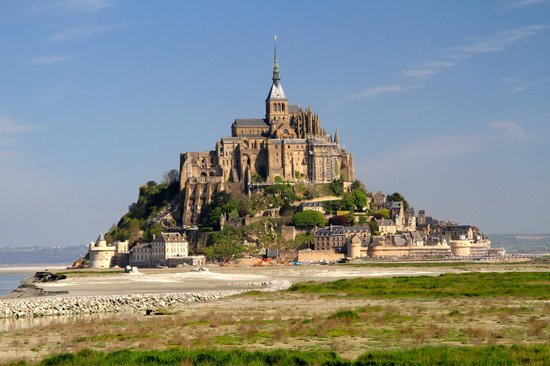 mont st michel from a distance picture of abbaye du mont michel mont michel