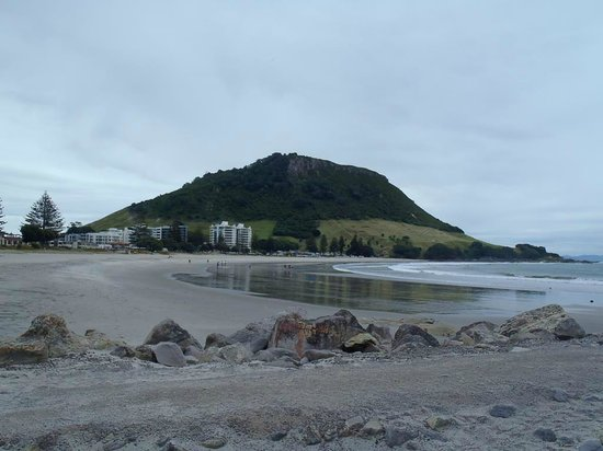 Maunganui Beach: Mt. Maunganui and the beach from Leisure Hill