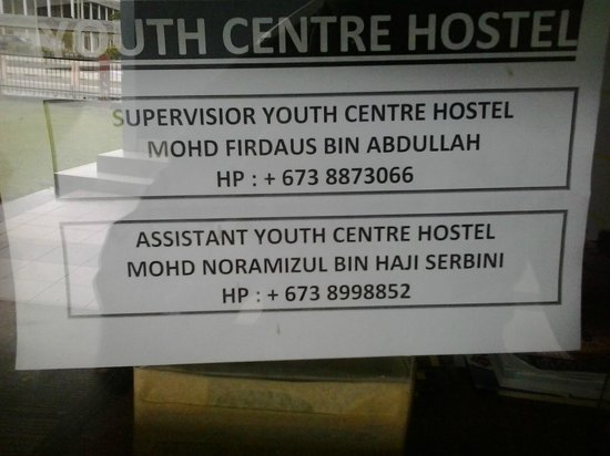 Pusat Belia Youth Hostel: contact names and numbers of hostel supervisor and assistant