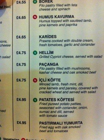 Tas Borough High Street: menu