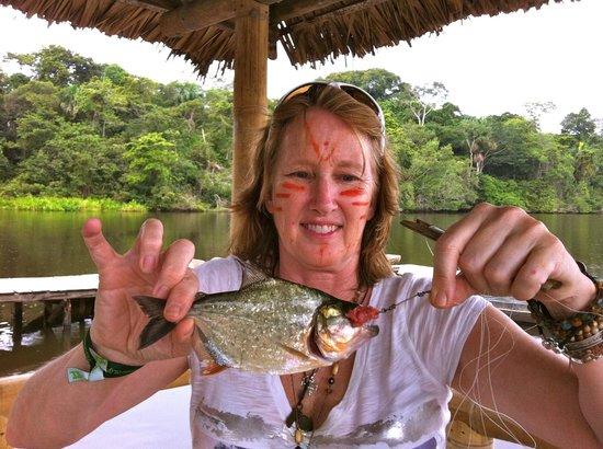 La Selva Amazon Ecolodge: a piranha that I caught