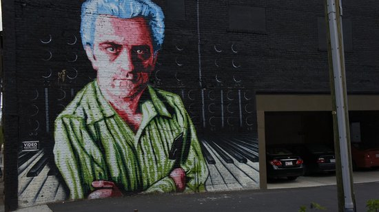 Moog Music Factory Tour: Bob Moog Mural outside of the Moog Music Factory