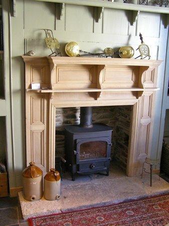The Barley Sheaf at Gorran: The pub fireplace with real log burner.