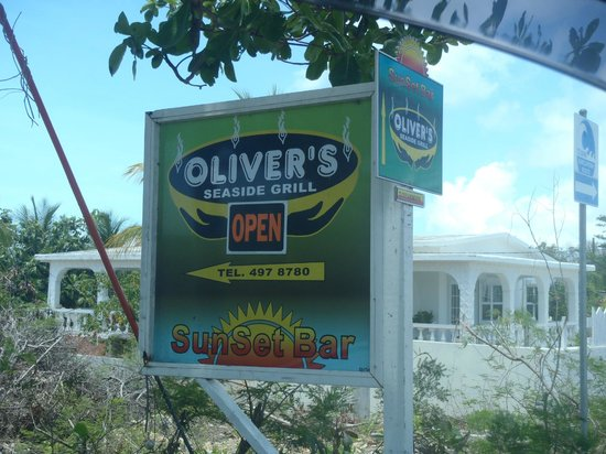 Oliver's Seaside Grill: The sign on the road to turn off to the restaurant.