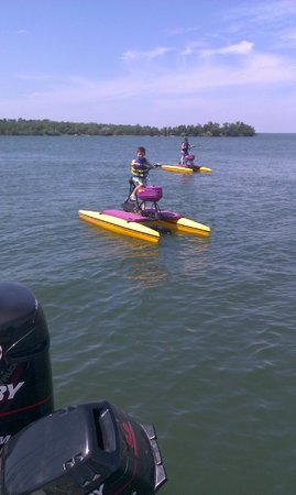 Chase on the Lake: Peddle bikes are fun for the kids!