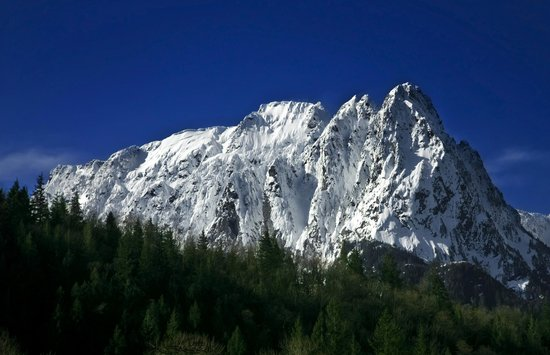 Outdoor Adventures Center - Day Tours: Mt. Index, in the Spring from the River House in Index, WA