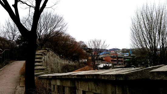 Bugaksan Seoul Fortress: Long walk along the fortress wall before the secured area.