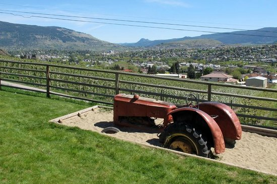 Davison Orchards Country Village : Tip of free playground and view of Vernon (with blooming pear trees)