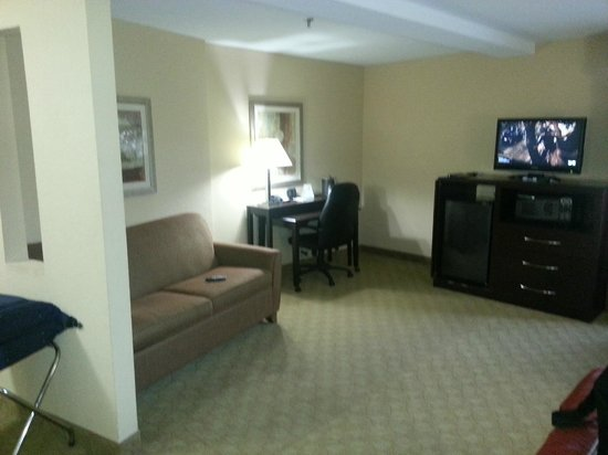Comfort Suites Brunswick: Desk and sofa