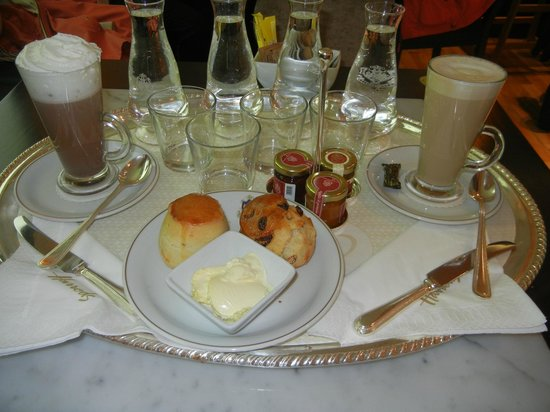 Caffe Florian scones and coffee served on silver tray