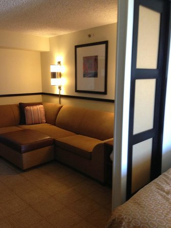 """Hyatt Place Fort Worth Cityview: View from the bathroom into the """"living\desk"""" area"""