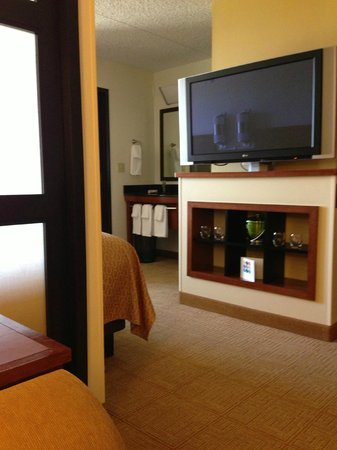 Hyatt Place Fort Worth Cityview: looking from the living area towards the bath\vanity