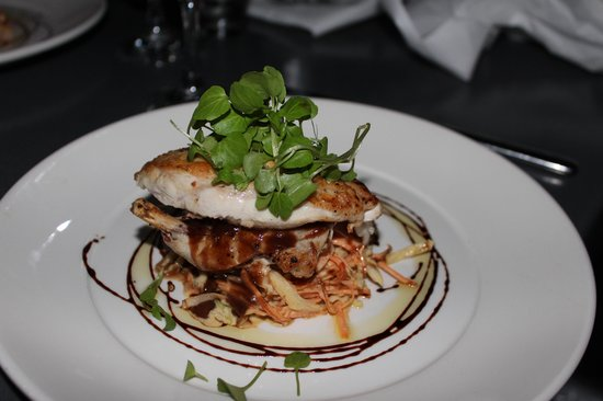 Rock Salt: Roasted Chicken Breast with spiced coleslaw, roast garlis, ginger and mint dressing