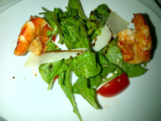 Rossini's: Rocket salad top with Seared Shrimp and parmesan cheese
