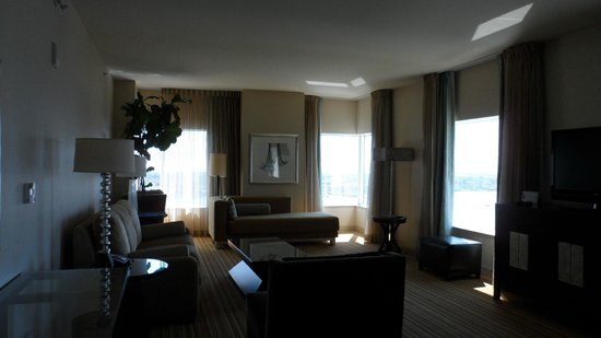 Hilton San Diego Bayfront: This photo is dark but the room was bright and airy