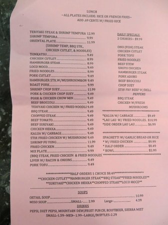 Waipouli Deli and Restaurant: Menu page 1