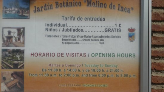Jardin Botanico Molino de Inca: Opening Times and Prices