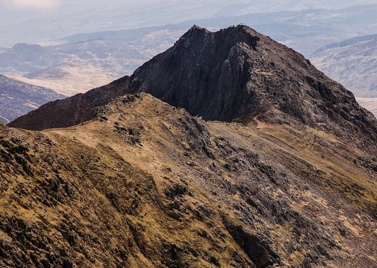Snowdon: Crib Goch, the climbers can be seen on top.