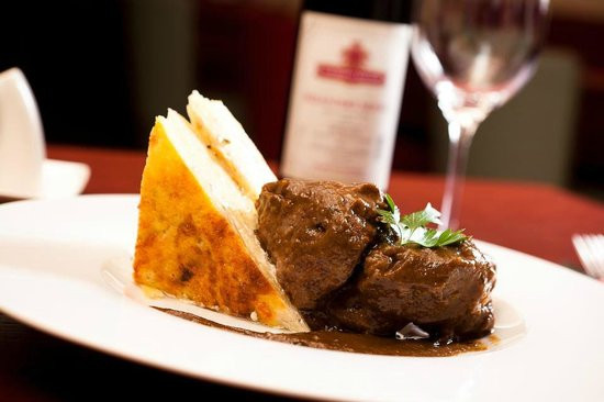 Jakub Restaurant: Beef cheeks in a sauce of root vegetables and wine, potatoes au gratin
