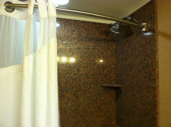 Holiday Inn Express & Suites Donegal: HIX bathroom, curved shower bar