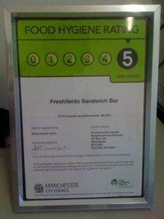 Freshfields Cafe: 5* award for food hygene