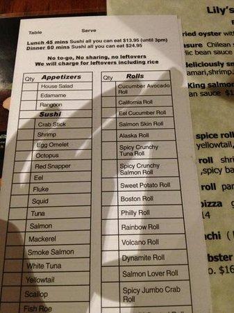 Lily Asian Restaurant: AUCE Tuesday menu