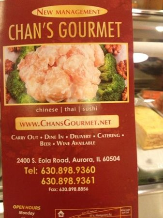 Aurora, IL: Menu for Chan's Gourmet under new ownership