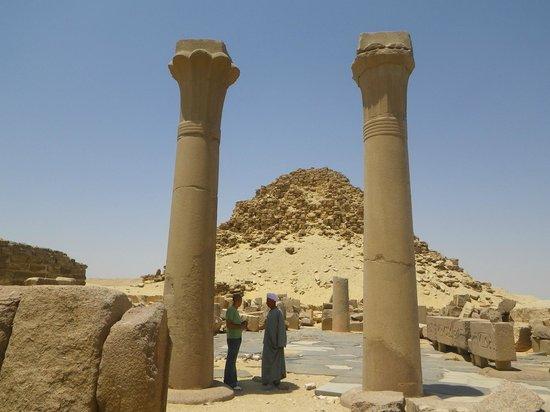Abu Sir Pyramids: view from the causeway