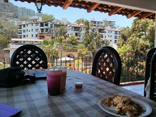 Hotel Posada de Roger: View from the community kitchen which has dishes, microwave and utensils.