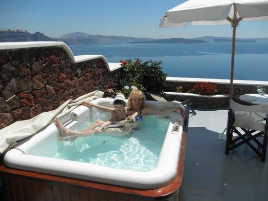 Delfini: Ванна с джакузи на террасе с видом на кольдеру