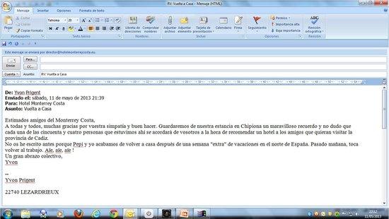 Hotel Monterrey Costa: CORREO AGRADECIMIENTO DE GRUPO FRANCESES