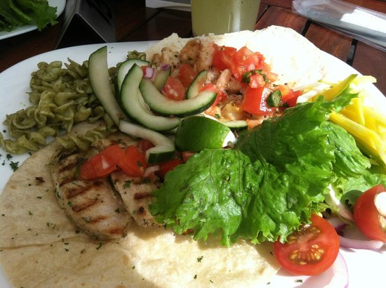 Taco Bar Restaurant : Coconut shrimp and Mahi tacos - after visiting the taco bar